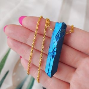 Jewelry - 💙Blue titanium quartz necklace, Crystal jewelry